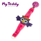 My Teddy dummy holder with owl, purple/pink