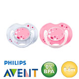 Philips Avent night-time dummies, symmetrical, silicone size 1 (transparent, pink)
