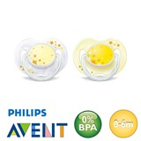 Philips Avent night-time dummies, symmetrical, silicone size 1 (yellow, white)