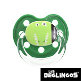 Les Deglingos dummy, orthodontic, silicone, size 2 (green crocodile)
