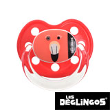 Les Deglingos dummy, orthodontic, silicone, size 2 (red flamingo)