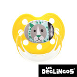 Les Deglingos dummy, orthodontic, silicone, size 2 (yellow lion)