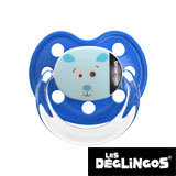 Les Deglingos dummy, orthodontic, silicone, size 2 (blue polar bear)