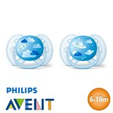 Philips Avent Ultra Soft Soothers, symmetrical, silicone, size 2 (blue, blue)