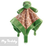 My Teddy security blanket, green/brown, turtle