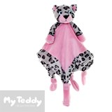My Teddy security blanket and dummy holder with leopard, pink