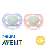 Philips Avent Ultra Air Night soothers, symmetrical, silicone, size 1
